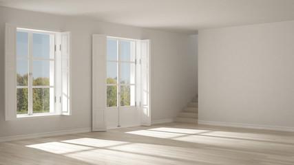 Empty room with windows and stairs, minimalist scandinavian interior design