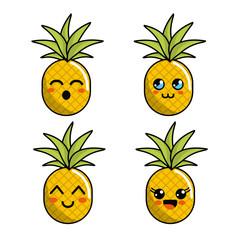 color kawaii faces pineapple icon
