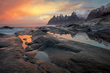 Obraz Great Dramatic Sky, Seascape, Landscape. Wild Northern nature - fototapety do salonu