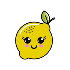 color kawaii happy lemon icon
