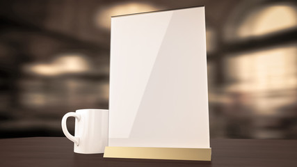 Stand for booklets white sheets of paper acrylic table tent card mockup on wooden with cup coffee blurred background render