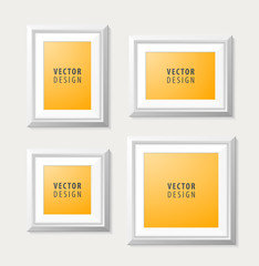 Set of Realistic Minimal Isolated White Frames on White Background for Presentations. Vector Elements