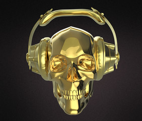 shiny golden human skull with  studio earphones on, render side view. Halloween party poster template. Isolated  dark background