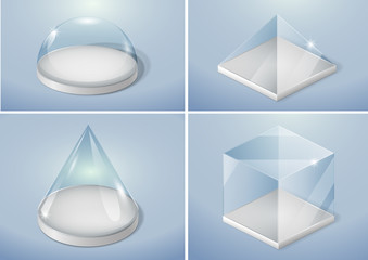 Set of glass forms of a pyramid, a hemisphere and a cube. Vector graphics with transparency effect Wall mural