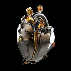 Diesel punk robot techno heart. engine with pipes, radiators and glossy dark bronze metal hood parts. isolated