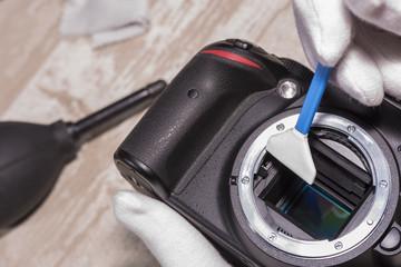 Cleaning camera sensor.