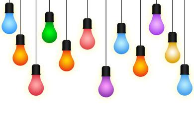 Colorful Illuminous Light Bulb, Bulb Hanging Through Wire Illustration