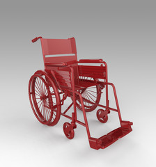 Glossy shiny golden metal wheelchair isolated on light background rendering.