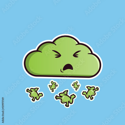 Cloud emoticon sick with frog rain cute vector emoji editable stickers in eps10