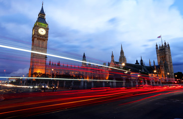 Big Ben London night slow motion