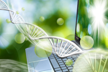notebook on genetic chain background