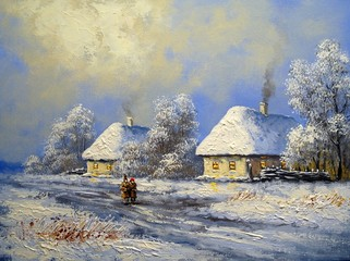 village winter oil paintings landscape