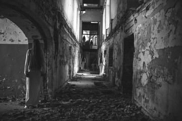 multiple ghost girl in an abandoned building