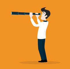 Businessman character looking through spy-glass. Businessman looking telescope. Vector concept. Stock.