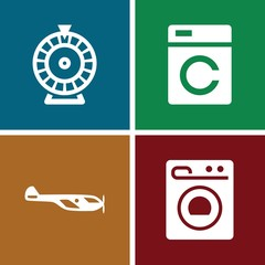 Set of 4 spin filled icons