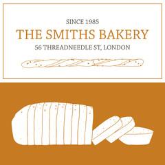 Sliced loaf of bread and bread stick vector illustration. Bakery design elements