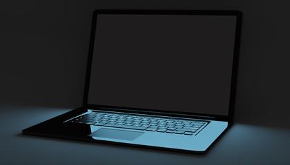Modern black laptop on black background 3D rendering