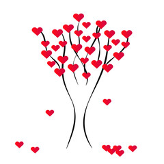 Hearts tree on white background