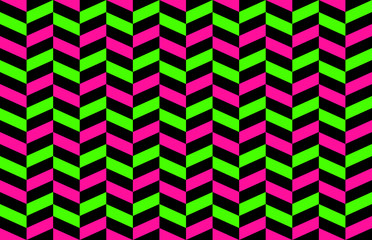 Classic Neon Colors Geometric Herringbone Seamless Pattern. Fluorescent Lime Green, Hot Pink with Black. Glow in the Dark Background. Trendy 80s, 90s Style Revival. Vector Pattern Tile Swatch Included