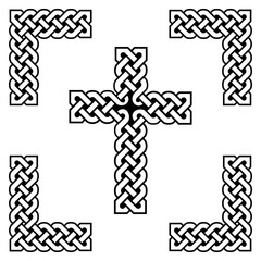 Celtic style endless   knot  cross symbols in white and black, with black filling between knots, in knotted frame  inspired by Irish St Patrick's Day, and Irish and Scottish carving art