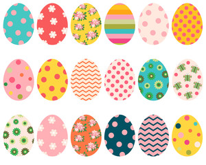Colorful Easter eggs with flowers, dots and patterns for greeting cards, and egg hunt designs