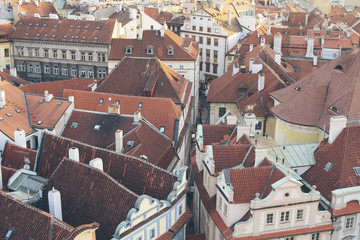 Building rooftops, Prague, Czech Republic, Europe