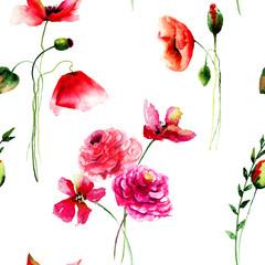 Seamless pattern with Beautiful Poppy and Gerbera flowers