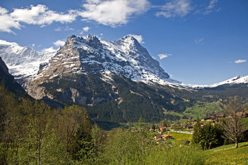 Eiger mountain, rigid and stalwart above Grindelwald valley