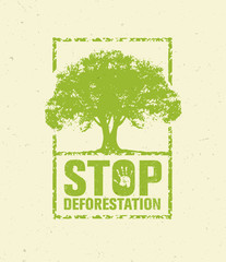 Stop Deforestation Eco Green Banner. Organic Creative Vector Design Concept On Recycled Paper Background With Handprint