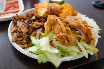 Traditional fast food in Greece called gyros