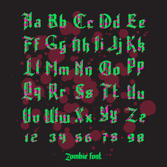 Acid zombie gothic font set