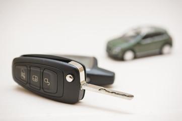 Car key, small car, money.
