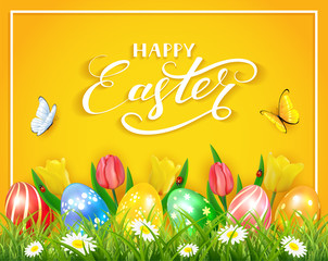 Easter eggs with butterflies and tulips on yellow background