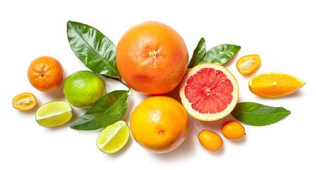 various citrus fruits on white background Fototapete