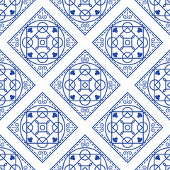 Portuguese blue and white mediterranean seamless tile pattern. Geometric monochrome shapes vector texture for ceramic design, textile and wallpaper.