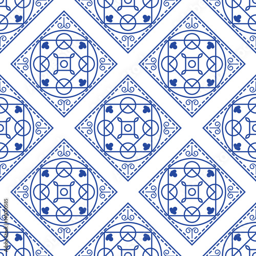 """Designer White Abstract Ceramic Wall Tile Pack Of 8 L: """"Portuguese Blue And White Mediterranean Seamless Tile"""