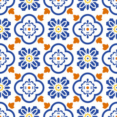 Ceramic blue and white mediterranean seamless tile pattern. Geometric arabic shapes vector texture for textile and wallpaper design.