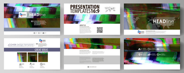 Business templates in HD format for presentation slides. Abstract vector layouts in flat design. Glitched background made of colorful pixel mosaic. Digital decay, signal error, television fail.