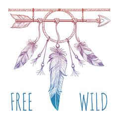 Sketch of native american accessoriy with arrow and feathers and sign free wild. Vector illustration