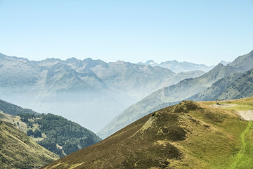 Aspin Pass (Col d Aspin) in summer. This pass is one of the iconic landmarks of the Pyrenees mountains in France.