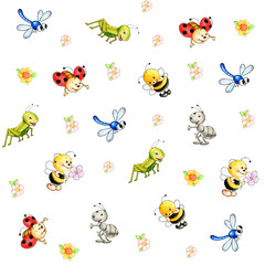 Cute insects background patterns