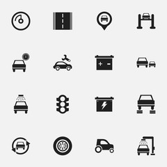 Set Of 16 Editable Car Icons. Includes Symbols Such As Auto Repair, Pointer, Battery And More. Can Be Used For Web, Mobile, UI And Infographic Design.