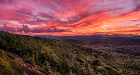 Sunset from Flat Rock Overlook off the Blue Ridge Parkway