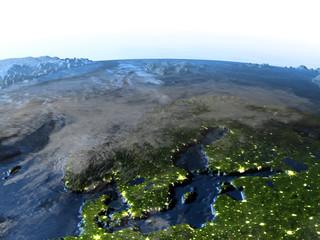 Scandinavian Peninsula on Earth at night - visible ocean floor