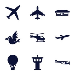 Set of 9 flight filled icons