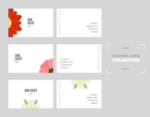 Set of three horizontal business cards. Floral template.