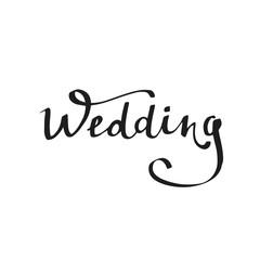 Wedding. Modern brush calligraphy. Handwritten ink for design wedding invitation.