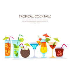 Tropical cocktails set, vector hand drawn illustration. Various isolated cocktail glass with beverages. Trendy flat design for summer beach party invitation, bar menu of alcohol drinks.
