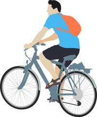 isolated male cyclist on bicycle