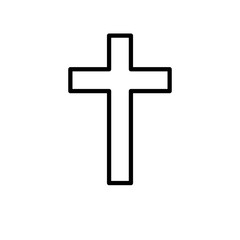 Christian cross  icon or logo in modern line style.